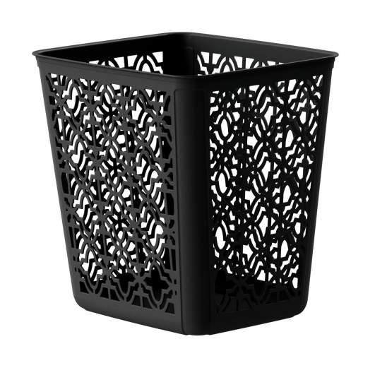black bathroom accessories, black wastebasket