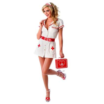 white and red sexy nurse costume