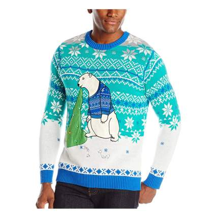 polar bear vomit light up christmas sweater