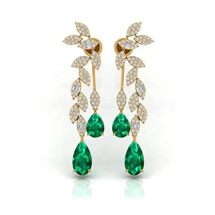 diamond and emerald dangle earrings