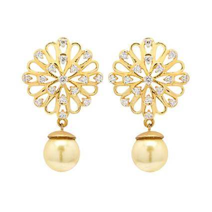 gold diamond and pearl drop earrings