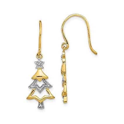 14k gold christmas tree earrings