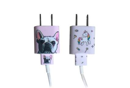 USB charger plugs with bulldog and unicorn stickers