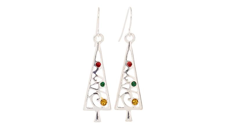 christmas tree earrings, christmas earrings, christmas jewelry, earrings, dangle earrings