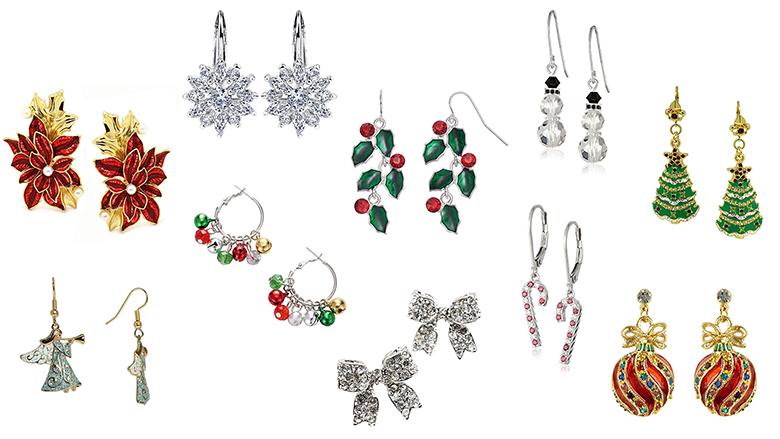 christmas earrings, christmas jewelry, earrings, dangle earrings, drop earrings, stud earrings, crystal earrings, silver earrings, christmas tree earrings, snowflake earrings
