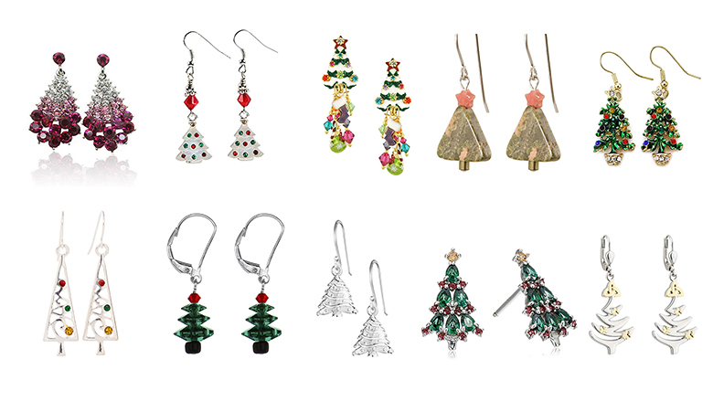 christmas tree earrings, christmas earrings, christmas jewelry, earrings, dangle earrings, stud earrings, crystal earrings, sterling silver earrings