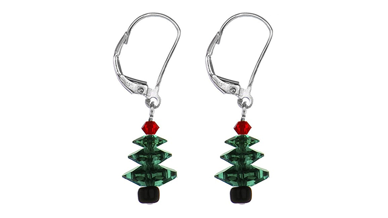 christmas tree earrings, christmas earrings, christmas jewelry, earrings, dangle earrings, swarovski