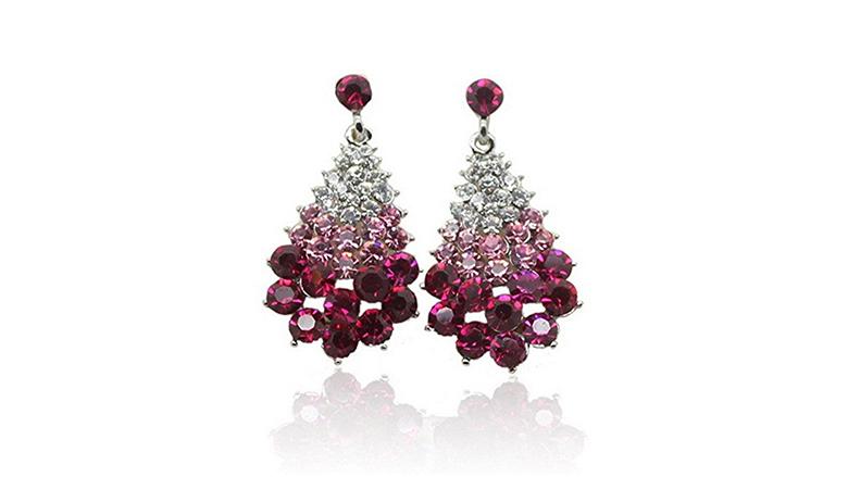 christmas tree earrings, christmas earrings, christmas jewelry, earrings, stud earrings, crystal earrings