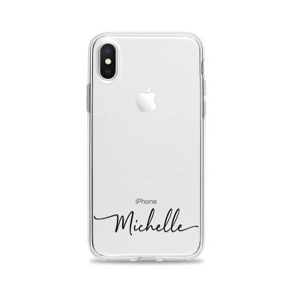 Custom Handwritten Name Clear Phone Case for iPhone XS