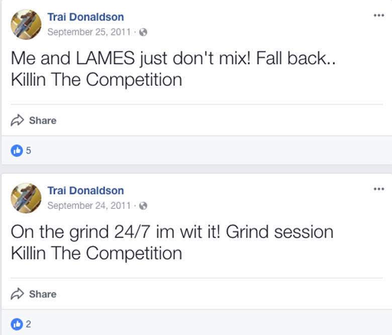Trai Donaldson Facebook page