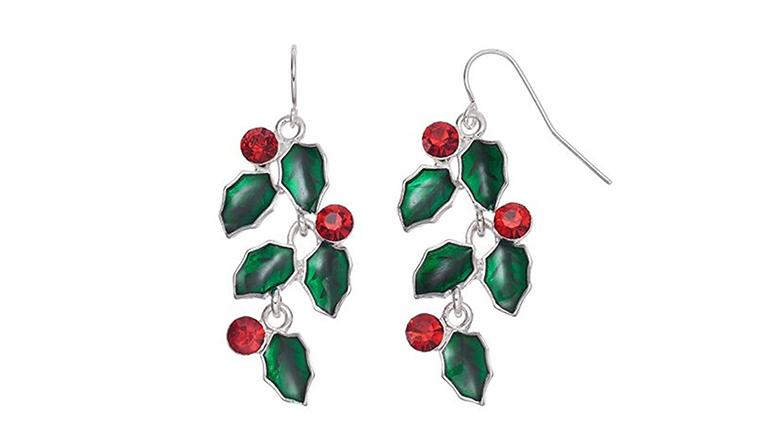 christmas earrings, christmas jewelry, earrings, dangle earrings, drop earrings, crystal earrings