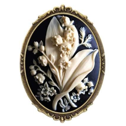 gray floral cameo brooch