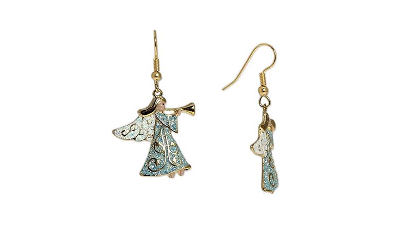 christmas earrings, christmas jewelry, earrings, dangle earrings, drop earrings, angel earrings, angel wing earrings