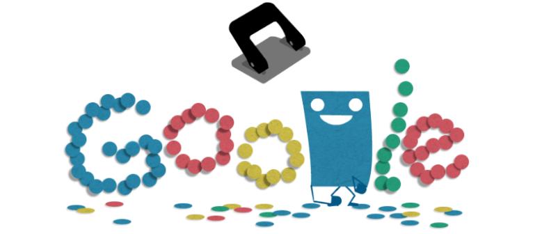 hole punch google doodle, hole puncher history