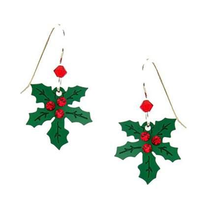 holly leaves and berries earrings