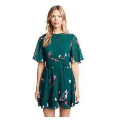 Keepsake The Label Women's Nightfall Accordion Pleated Short Sleeve Fit & Flare Dress