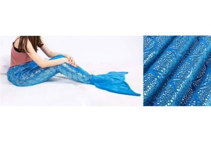 Girl wearing blue sparkling mermaid tail blanket with close up of glitter