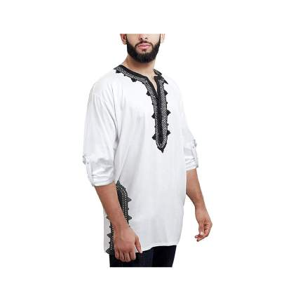 mens black and white embroidered cotton tunic