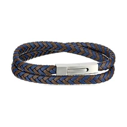 leather and stainless steel braided srap bracelet