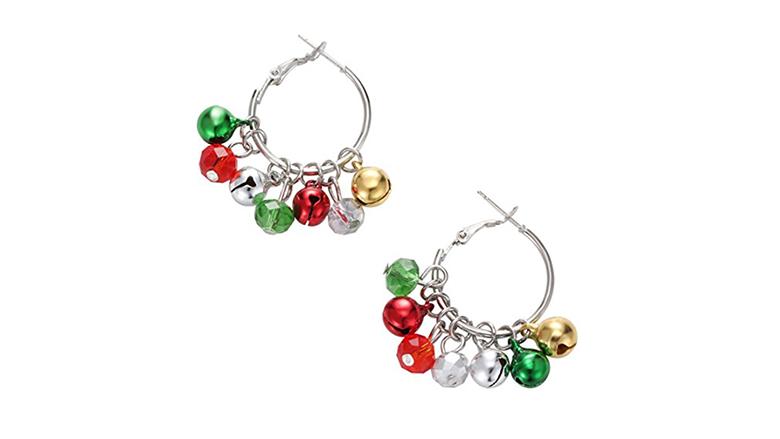 christmas earrings, christmas jewelry, earrings, dangle earrings, hoop earrings, silver hoop earrings