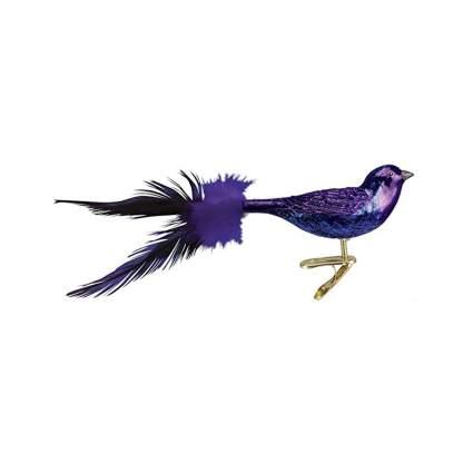 purple martin blown glass clip on ornament