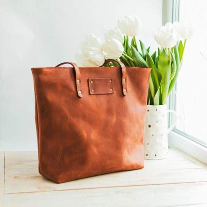 Personalized Leather Women's Tote Bag