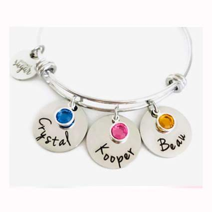 personalized mother's bangle bracelet