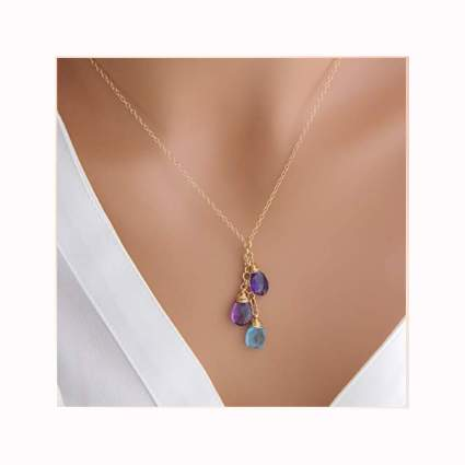 Gold filled mother's necklace with birthstones