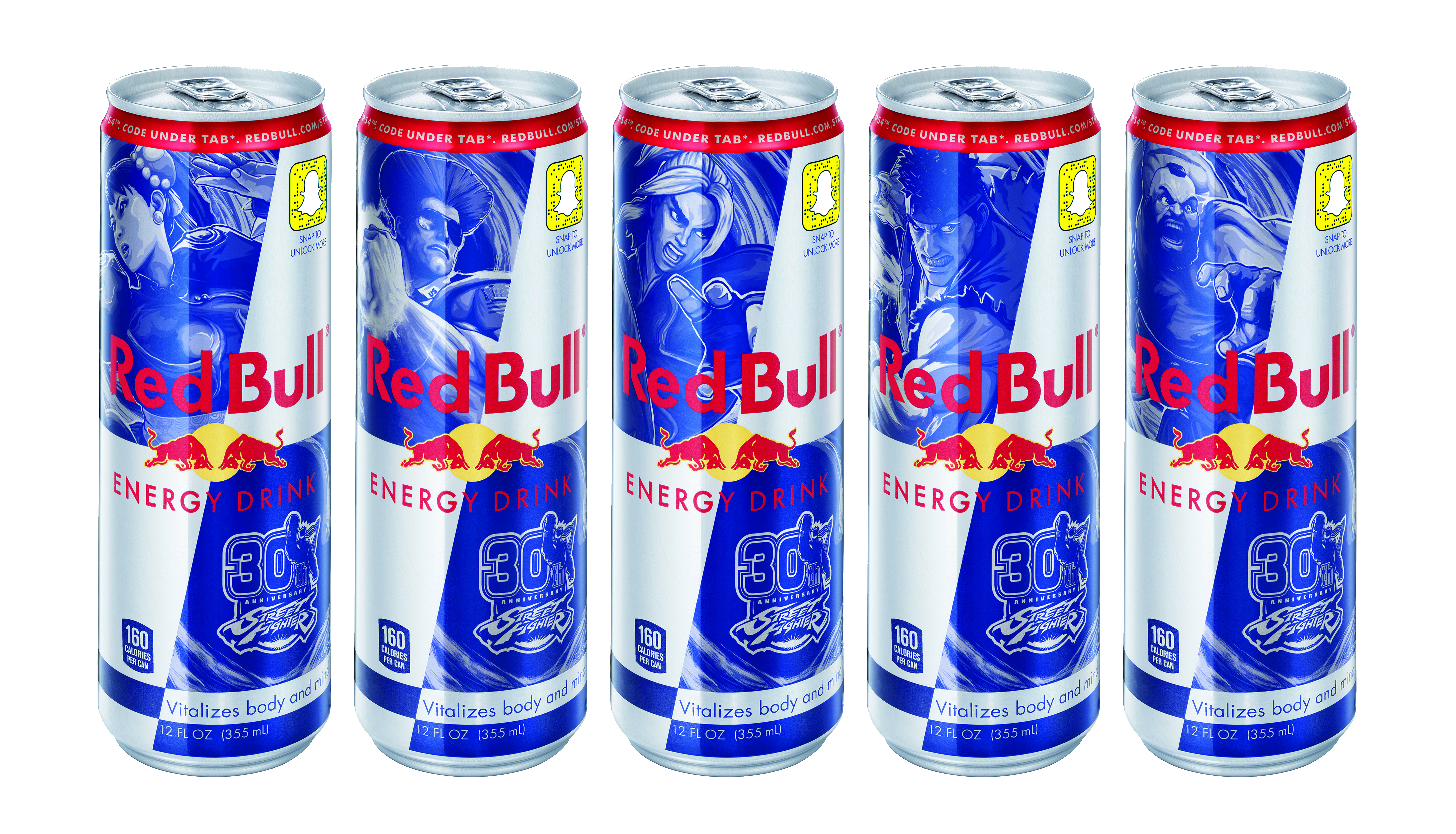 Street Fighter Special Edition Cans Red Bull Energy Drink