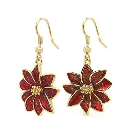 red poinsettia earrings