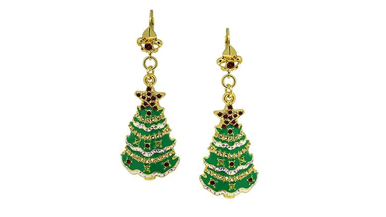 christmas earrings, christmas jewelry, earrings, dangle earrings, drop earrings, Christmas tree earrings