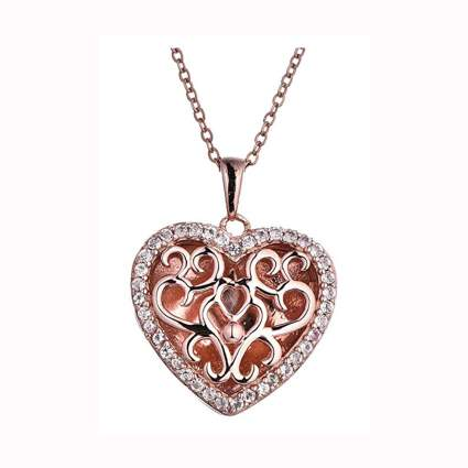 rose gold plated filigree heart locket necklace