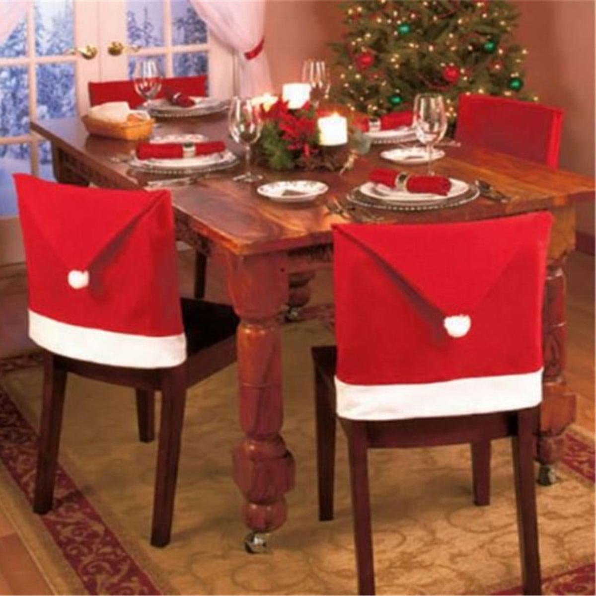 holiday table decor, chair covers, santa