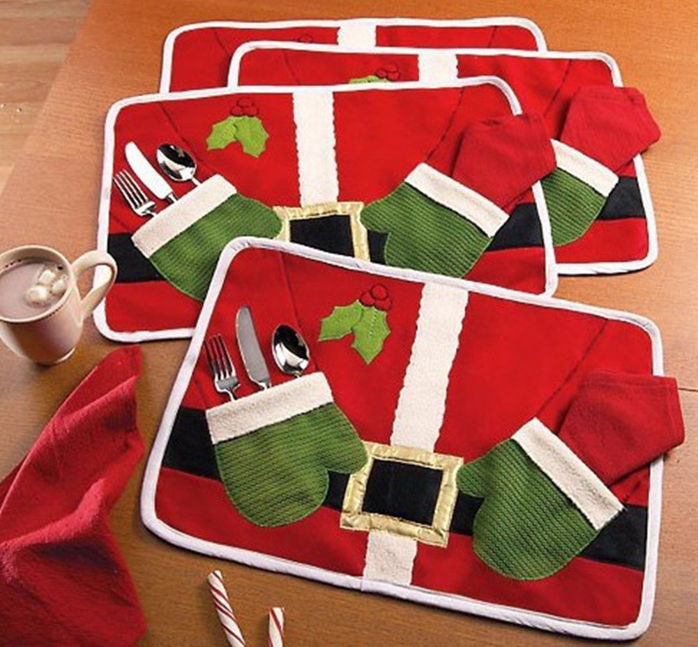 holiday table decor, placemats, santa placemats