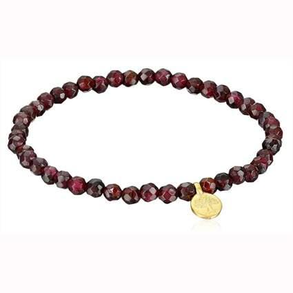 garnet bead bracelet with gold tree of life charm