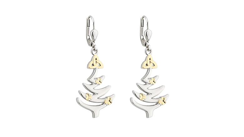 christmas tree earrings, christmas earrings, christmas jewelry, earrings, dangle earrings, solvar