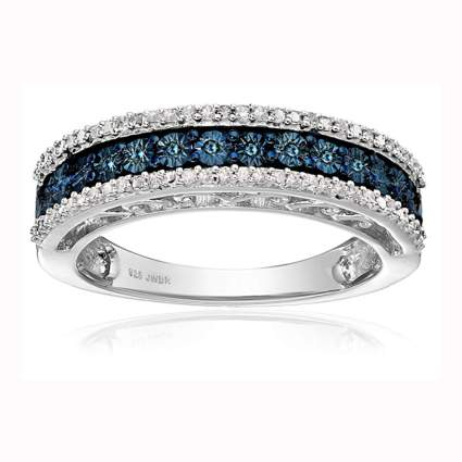 sterling silver blue and white diamond anniversary ring