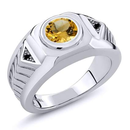 sterling silver citrine and black diamond men's ring