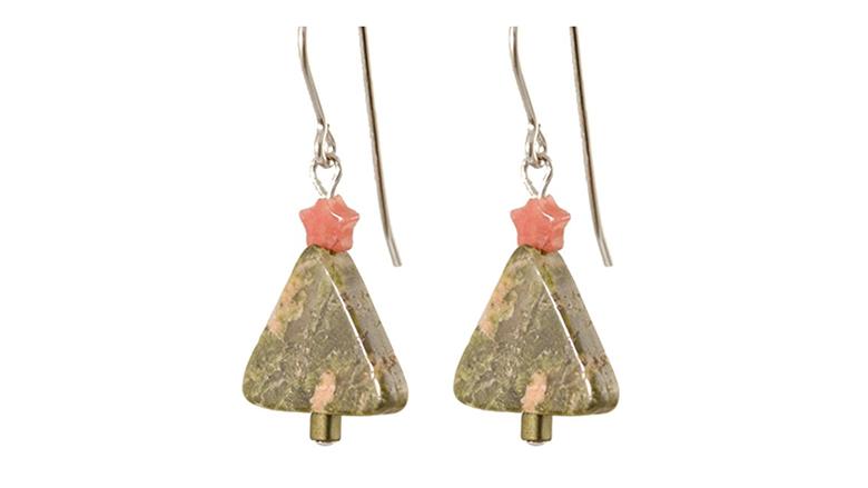 christmas tree earrings, christmas earrings, christmas jewelry, earrings, dangle earrings, sterling silver earrings