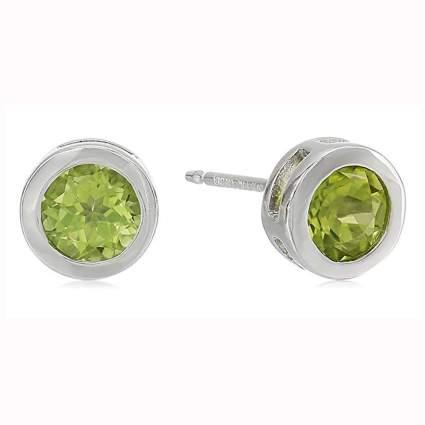 sterling silver bezel set birthstone earrings