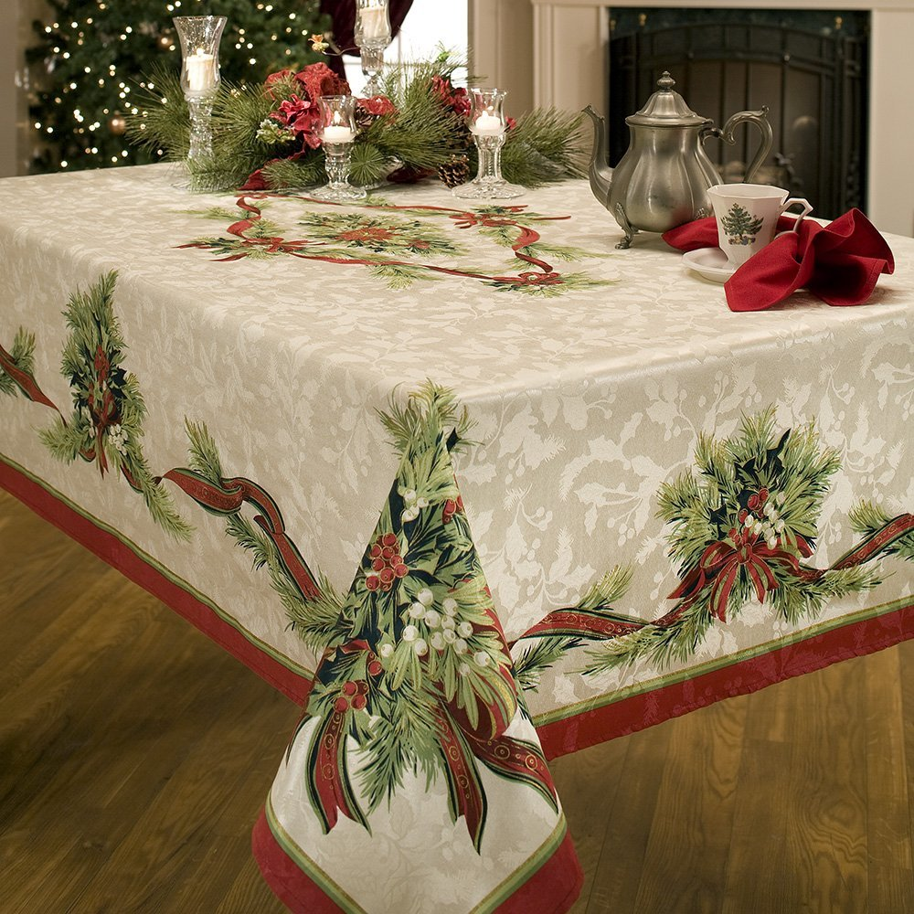 holiday table decor, holiday tablecloth, Christmas tablecloth