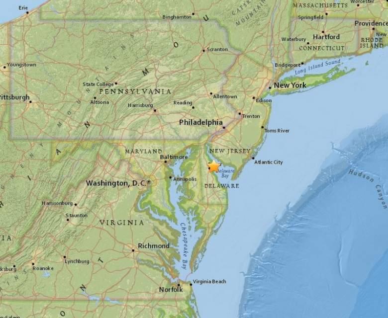 Delaware earthquake, New York, Baltimore, Washington DC, epicenter