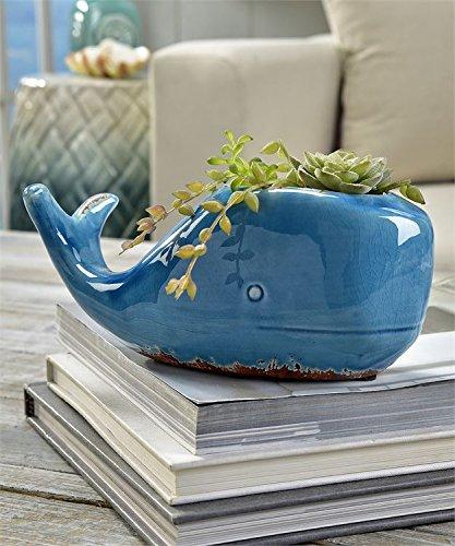 Whale Planter Ceramic Blue