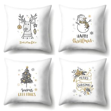 white christmas decorations pillow