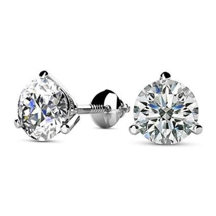 diamond stud earrings, romatic gifts for women
