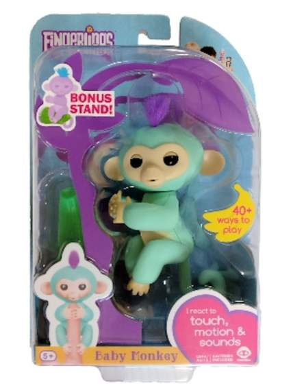 Fingerlings Baby Monkey - Zoe - Turquoise (Includes Bonus Stand)