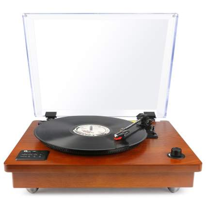 romantic gifts for women, 1byone Belt Driven Bluetooth Turntable with Built-in Stereo Speaker