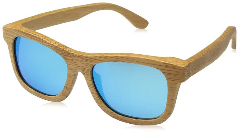 Womens Polarized Full Charcoal Bamboo Frame Classic Wooden Coated Sunglasses