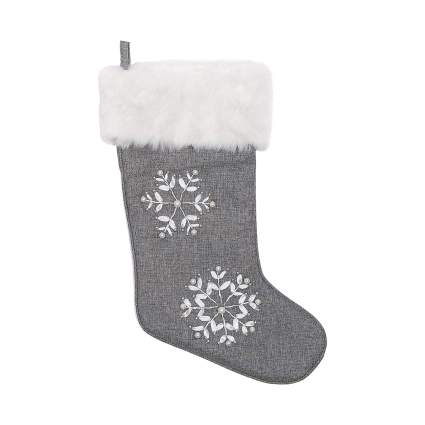 silver snowflake stocking
