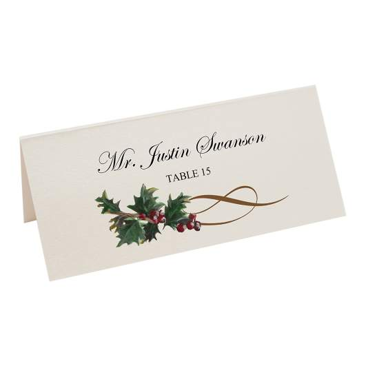 christmas place cards, holly place cards